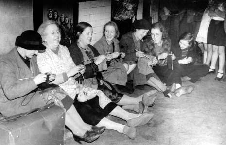 Laughing, knitting and strong comradery whilst being bombed